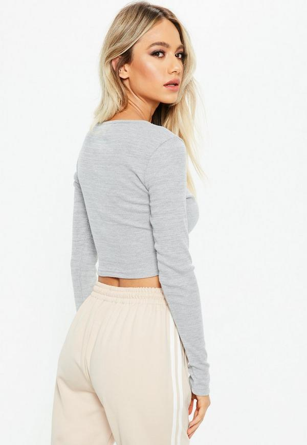 42a0d5850628f ... Grey Long Sleeves Zip Front Crop Top. Previous Next