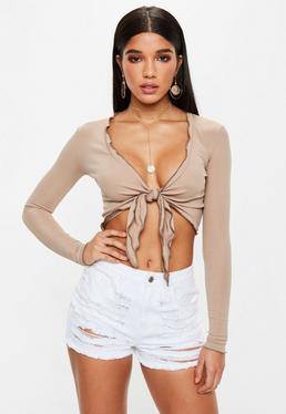 Nude Long Sleeve Lettuce Hem Tie Front Crop Top