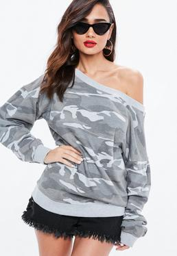 Gray Camo Print Off The Shoulder Sleeve Detail Sweatshirt