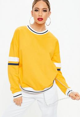 Yellow Drop Shoulder Stripe Arm Band Sweatshirt