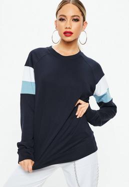 Navy Drop Shoulder Stripe Arm Band Sweatshirt