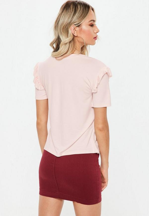 Pink frill sleeve t shirt missguided ireland for Frill sleeve t shirt