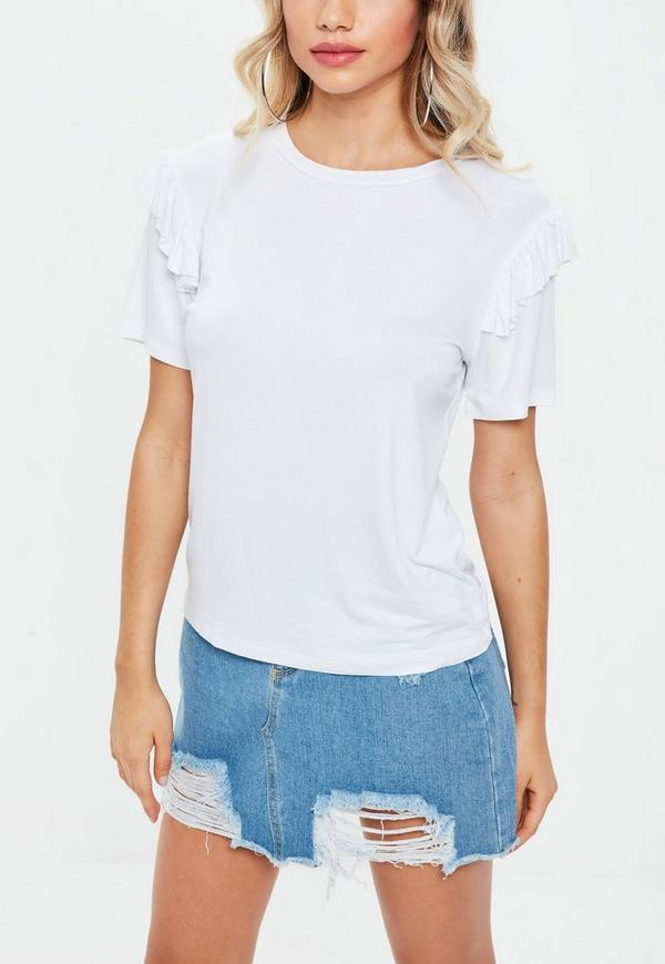 White frill sleeve t shirt missguided for Frill sleeve t shirt