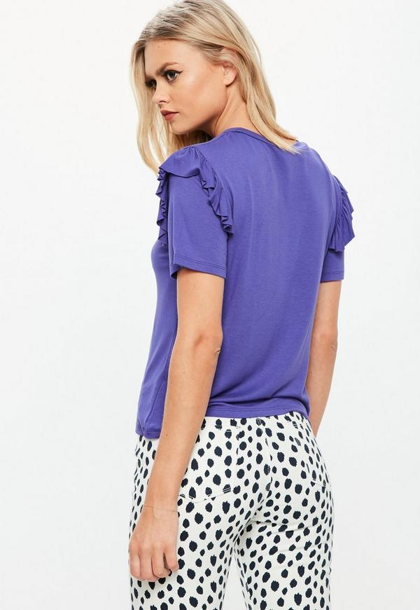 Purple frill sleeve t shirt missguided for Frill sleeve t shirt
