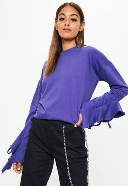Purple Frill Detail Sleeve Sweatshirt