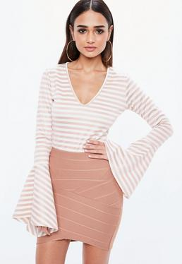 Pink Striped Flared Sleeve V Neck Bodysuit