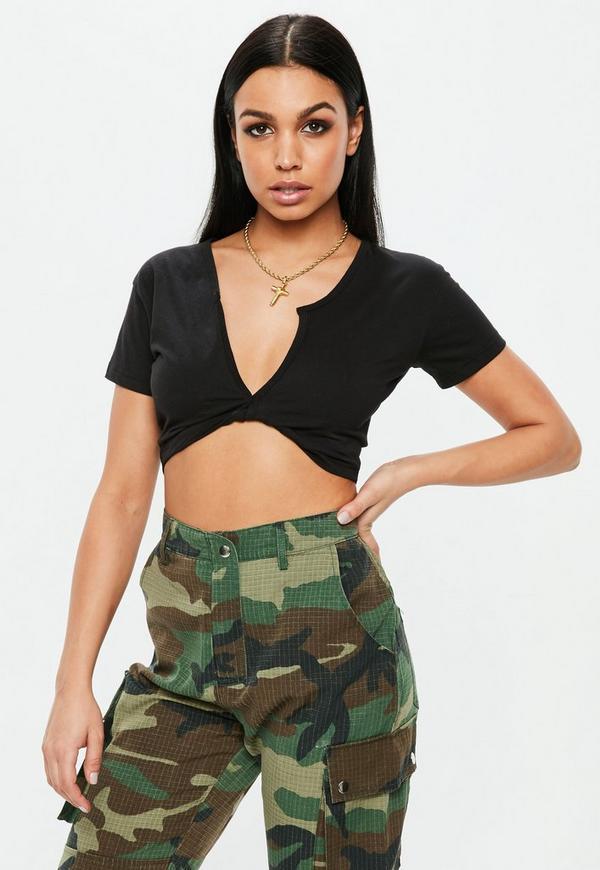 0c6027839797e Black Short Sleeve Twist Front Crop Top