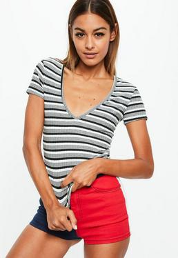 Black V Neck Stripe Ribbed Top