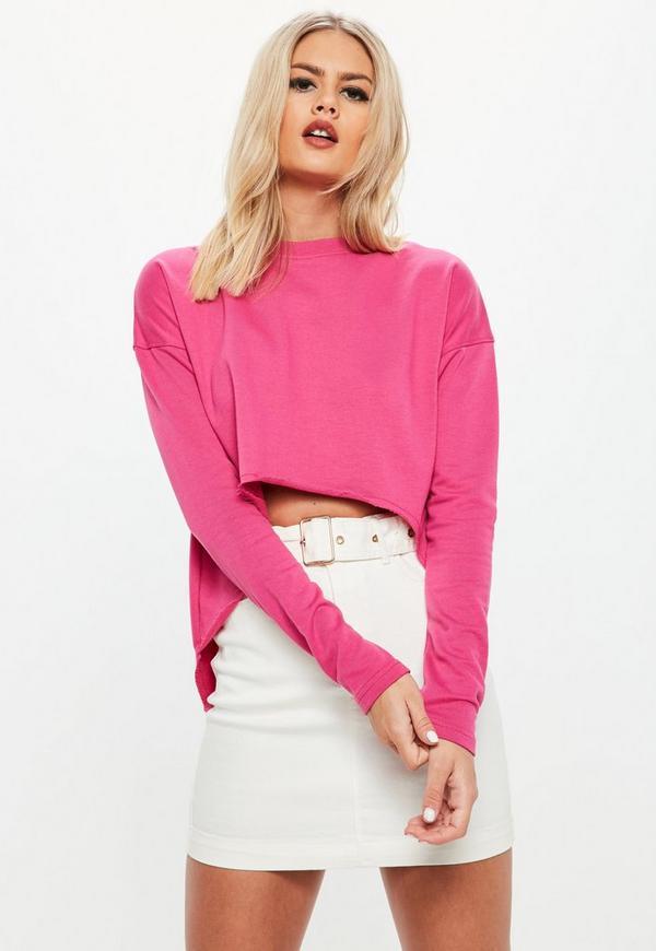 7d61548f611 pink dipped hem long sleeve sweatshirt. $8.00. Rust Cornelli Lace  Sleeveless Crop Top. $44.00. Black ...