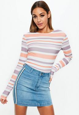 White Stripe Long Sleeve Textured Crop Top