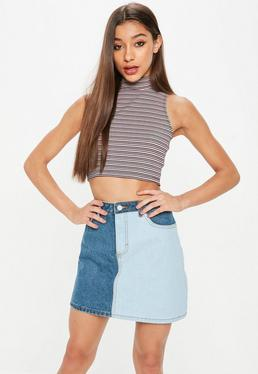 Nude Funnel Neck Striped Ribbed Crop Top