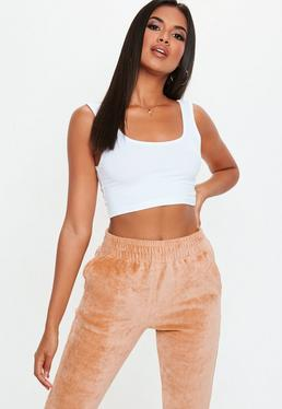 White Scoop Neck Cotton Bralet