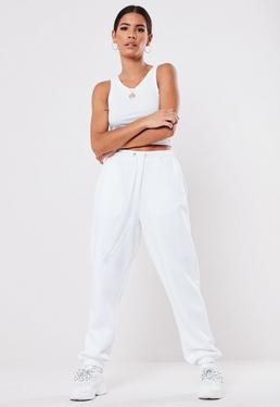 dec781f6c8af1 White Ribbed Sleeveless Crop Tops