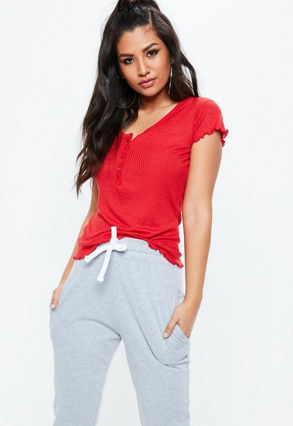 Red Lettuce Hem Popper Front Ribbed Top by Missguided