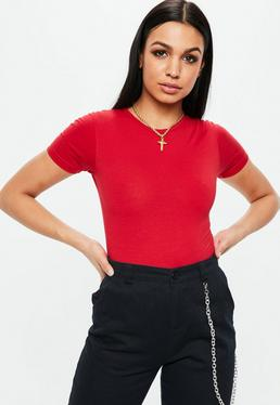 Red Short Sleeve Crew Neck Bodysuit