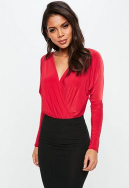 Red Wrapped Blouse Bodysuit
