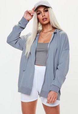 Blue Oversized Zip Through Hoodie