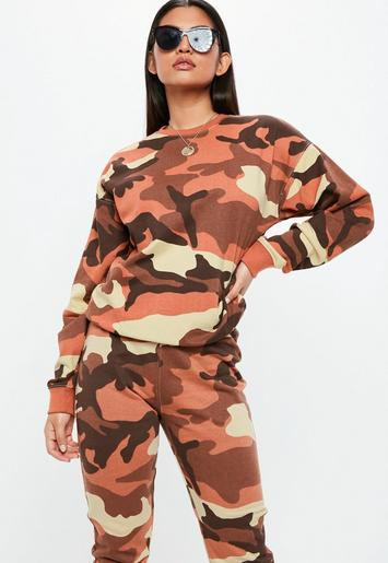 Orange Camo Long Sleeve Sweatshirt Missguided