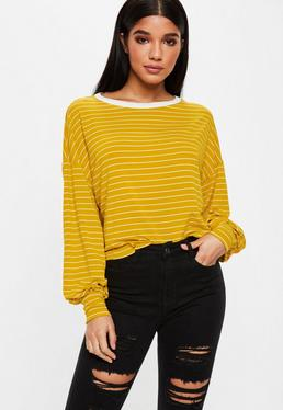Mustard Yellow Dropped Shoulder Striped Top