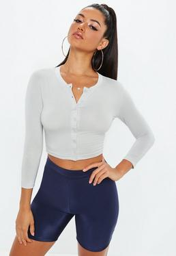 Grey Button Front Long Sleeve Crop Top