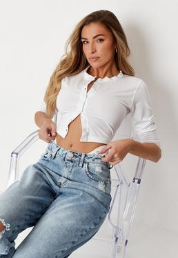 80f6899b97f ... White Button Front Crop Top