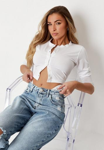 White Button Front Crop Top by Missguided