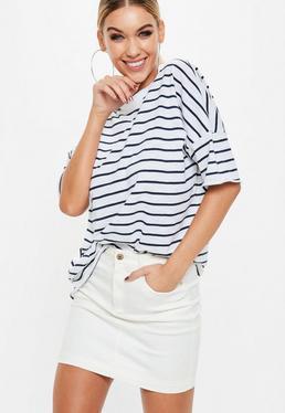 Camiseta oversize a rayas en blanco