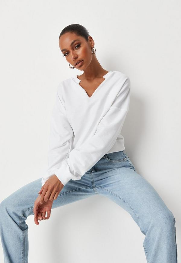 White Oversized V Front Washed Sweatshirt by Missguided