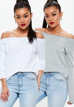 Dwie luźne bluzy biała i szara