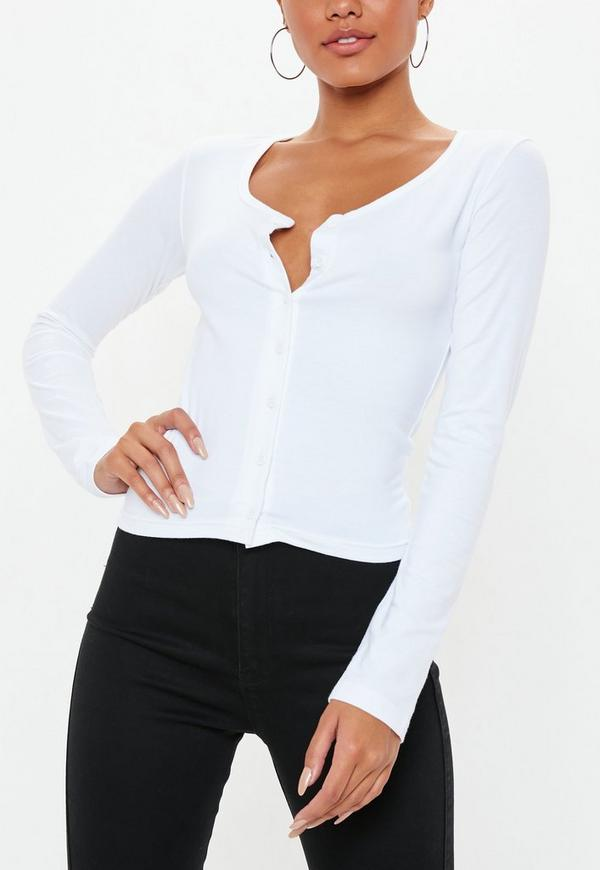 c861f15f65963 White Button Front Plunge Top. Previous Next