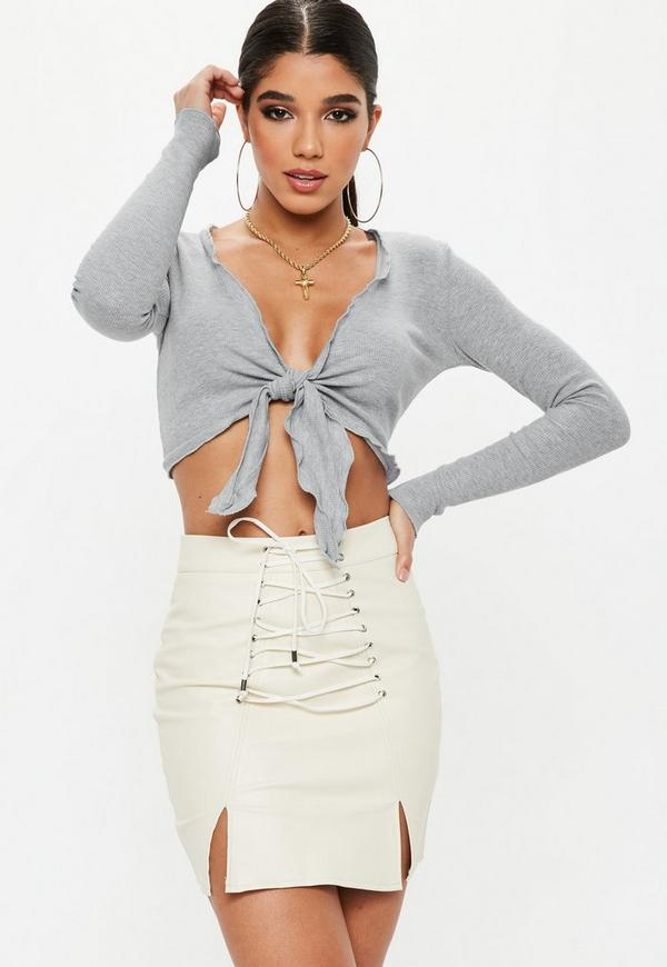 10805420ed1 Londunn + Missguided White Knot Front Long Sleeve Jersey Crop Top ...