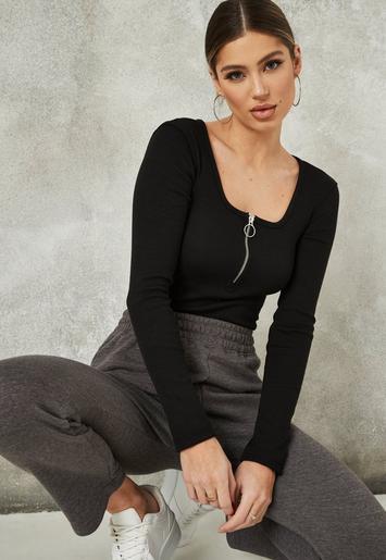 Black Zip Front Scoop Neck Ribbed Bodysuit   Missguided
