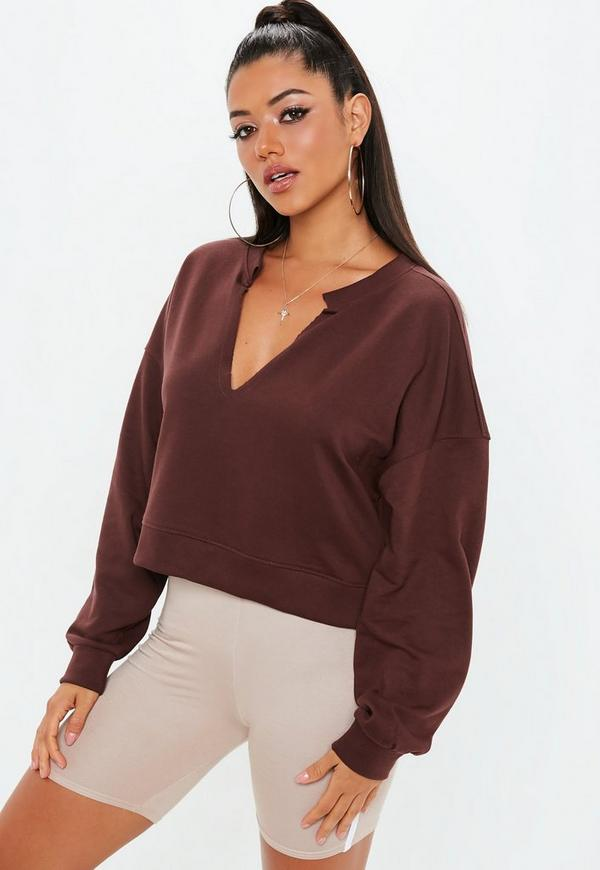 Brown Oversized V Neck Sweatshirt by Missguided