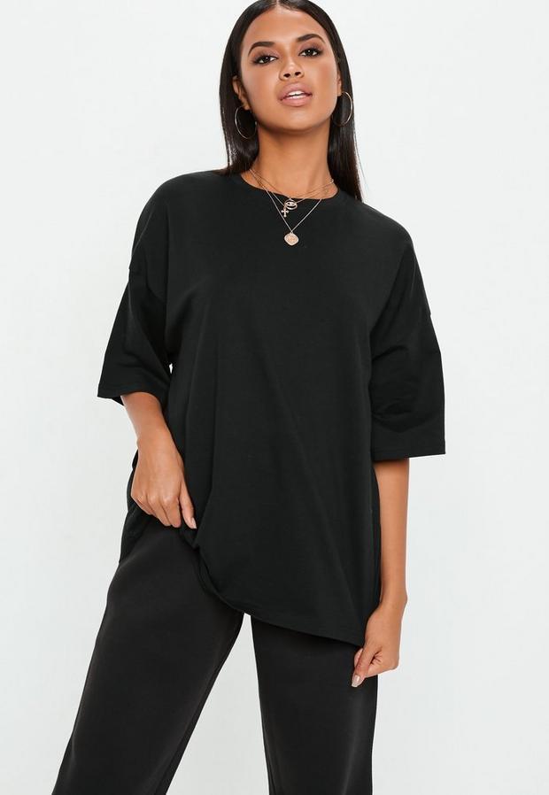 Black Drop Shoulder Oversized T Shirt