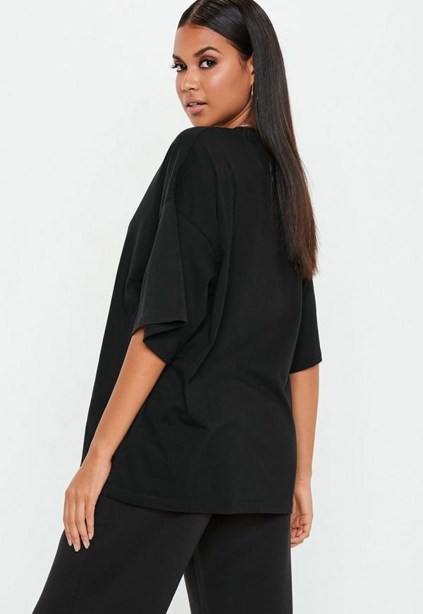 Black Drop Shoulder Oversized T Shirt