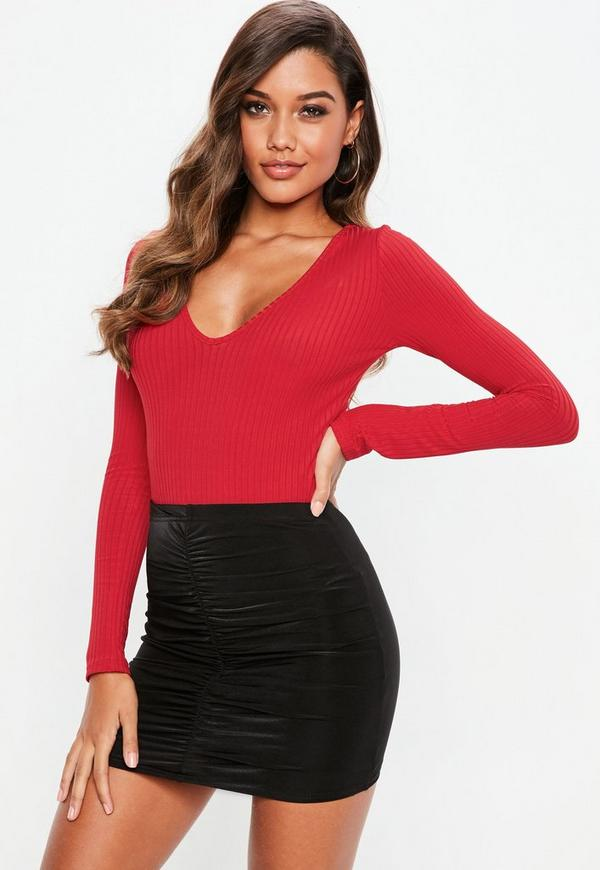 Red V Neck Ribbed Long Sleeve Bodysuit | Missguided