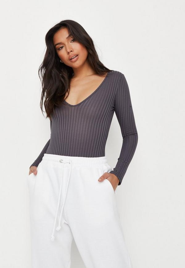 Gray V Neck Ribbed Long Sleeve Bodysuit by Missguided