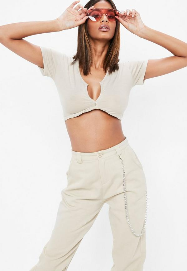 Nude Short Sleeve Twist Front Crop Top by Missguided