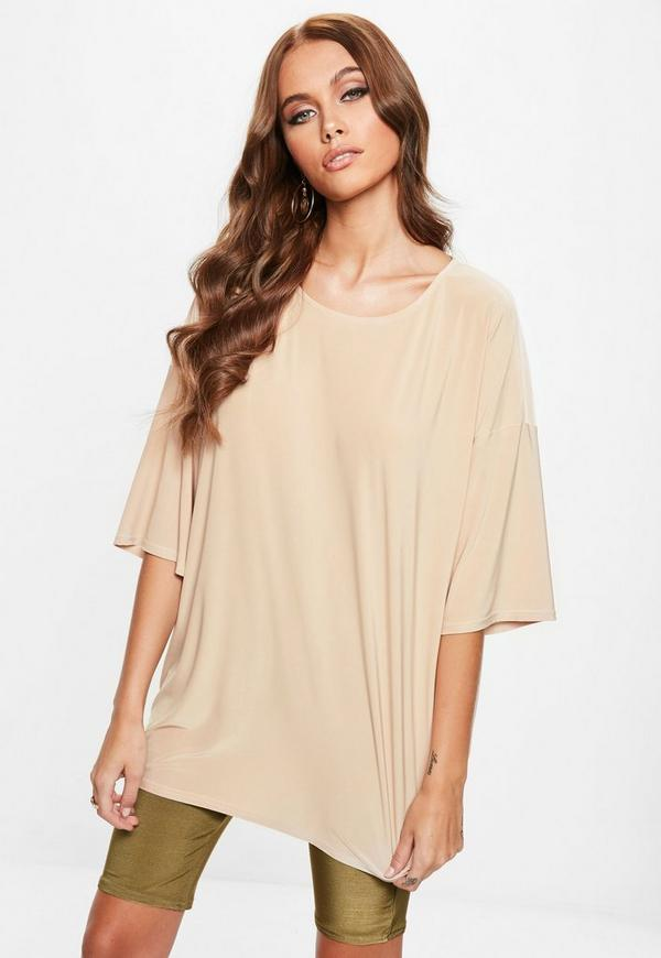 Sand Soft Touch Oversized T Shirt by Missguided