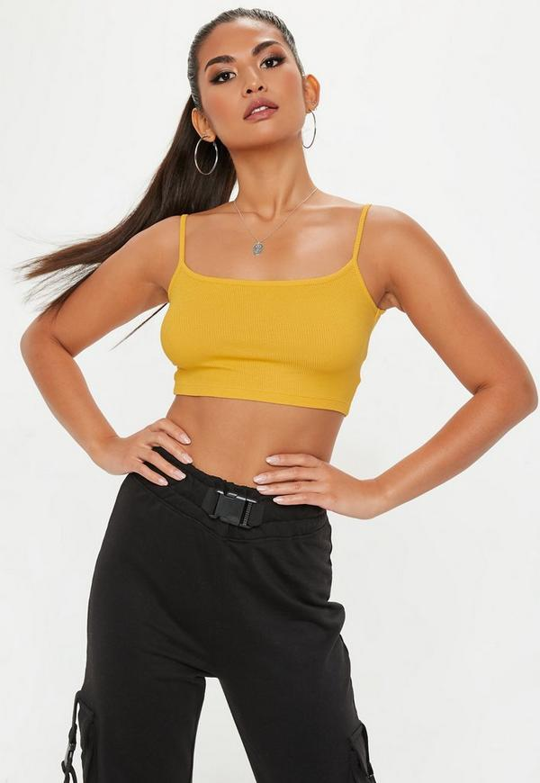 Mustard Strappy Ribbed Bralet by Missguided