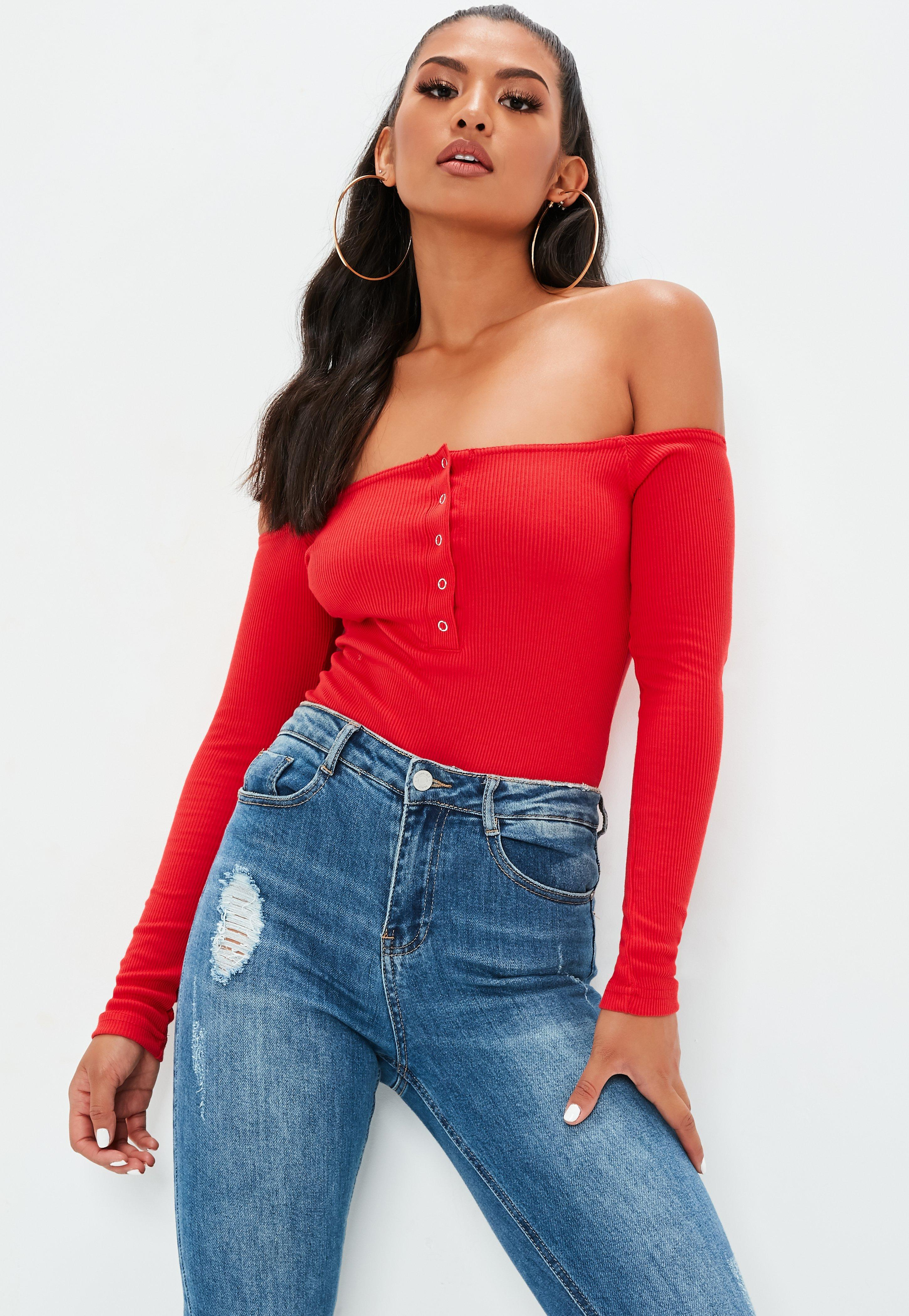 Red Button Front Long Sleeve Ribbed Bardot Bodysuit  e06a92613