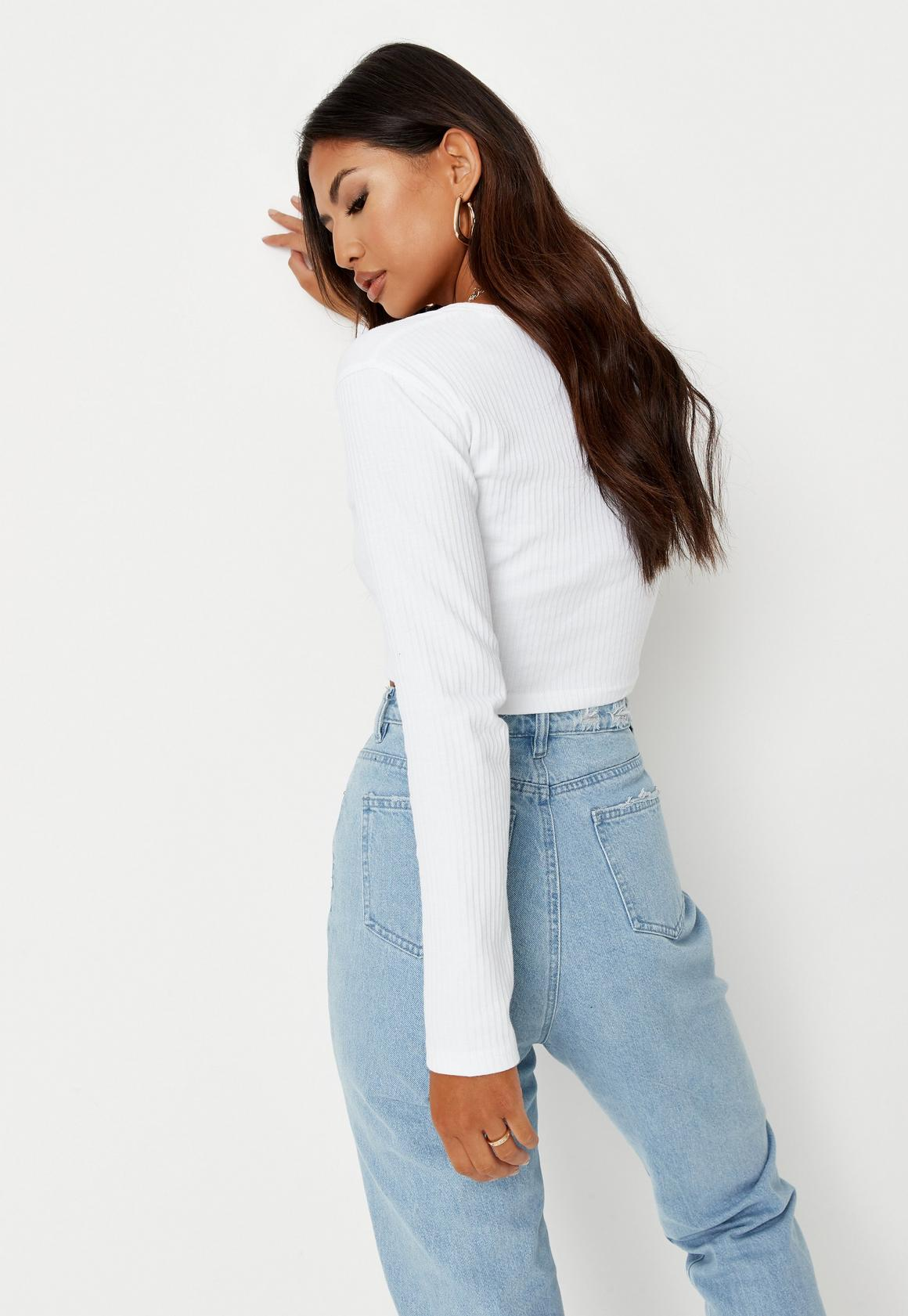 44a9089b785125 Missguided White Ribbed Notch Neck Crop Top, White at £12 | love the ...