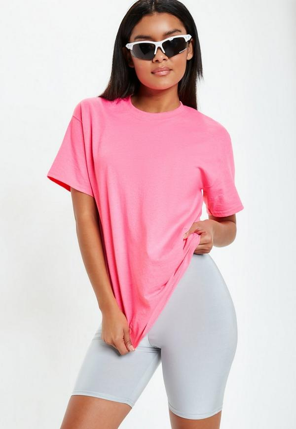 Pink Fluro Oversized T Shirt by Missguided