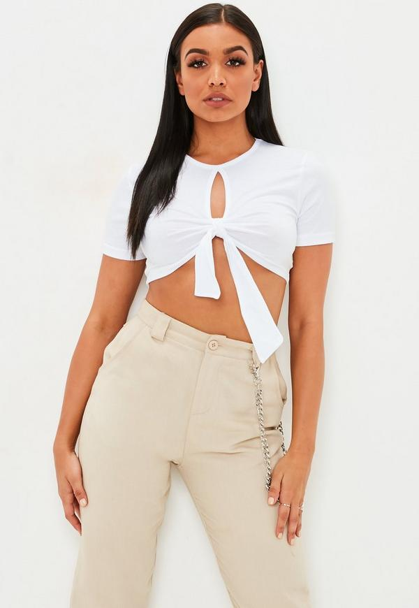 77ee92010533d1 ... White Tie Front Key Hole Crop Top. Previous Next