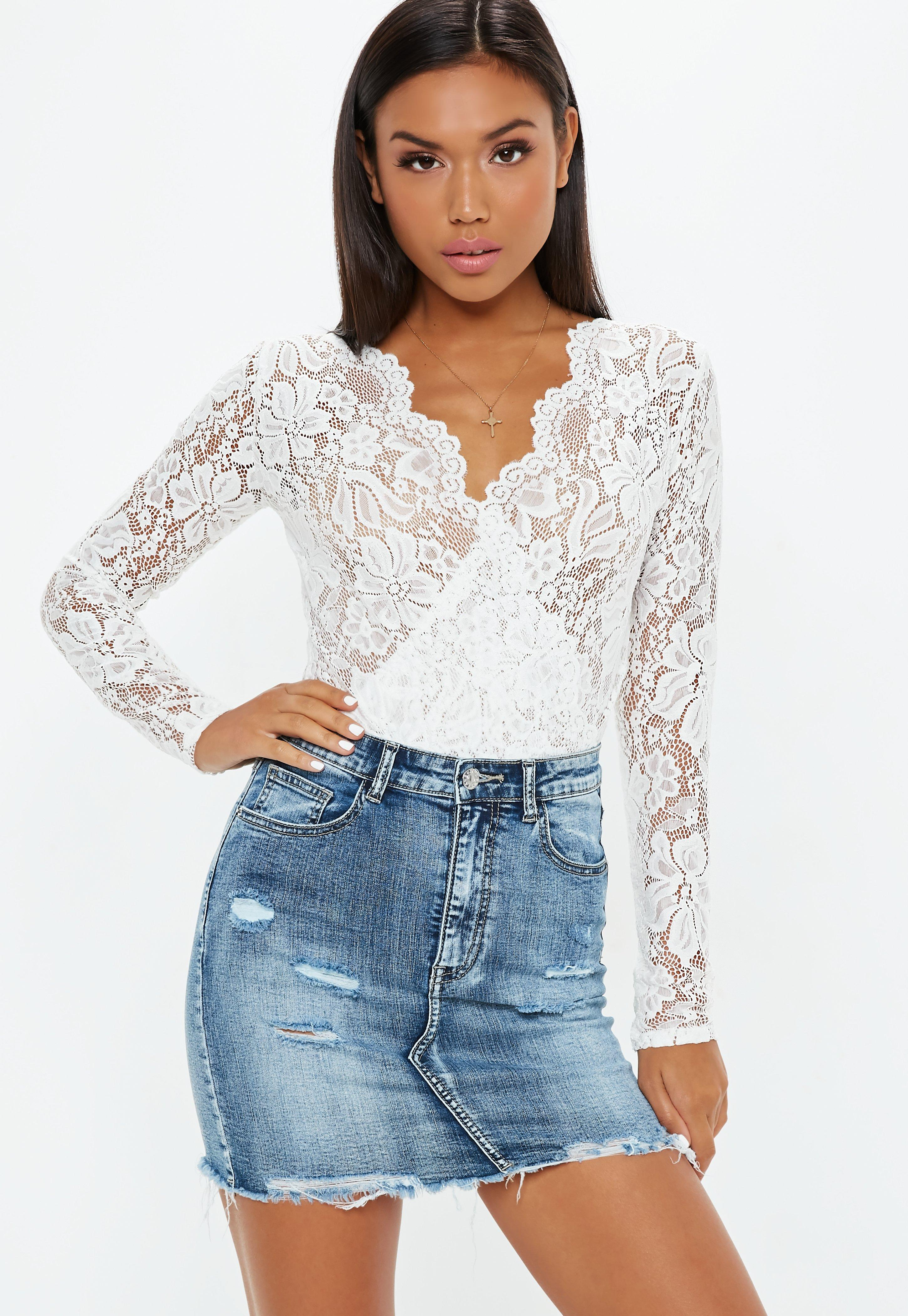 54e1bd949a White sheer lace deep plunge wrap over bodysuit missguided jpg 600x870 Plunge  sheer lace