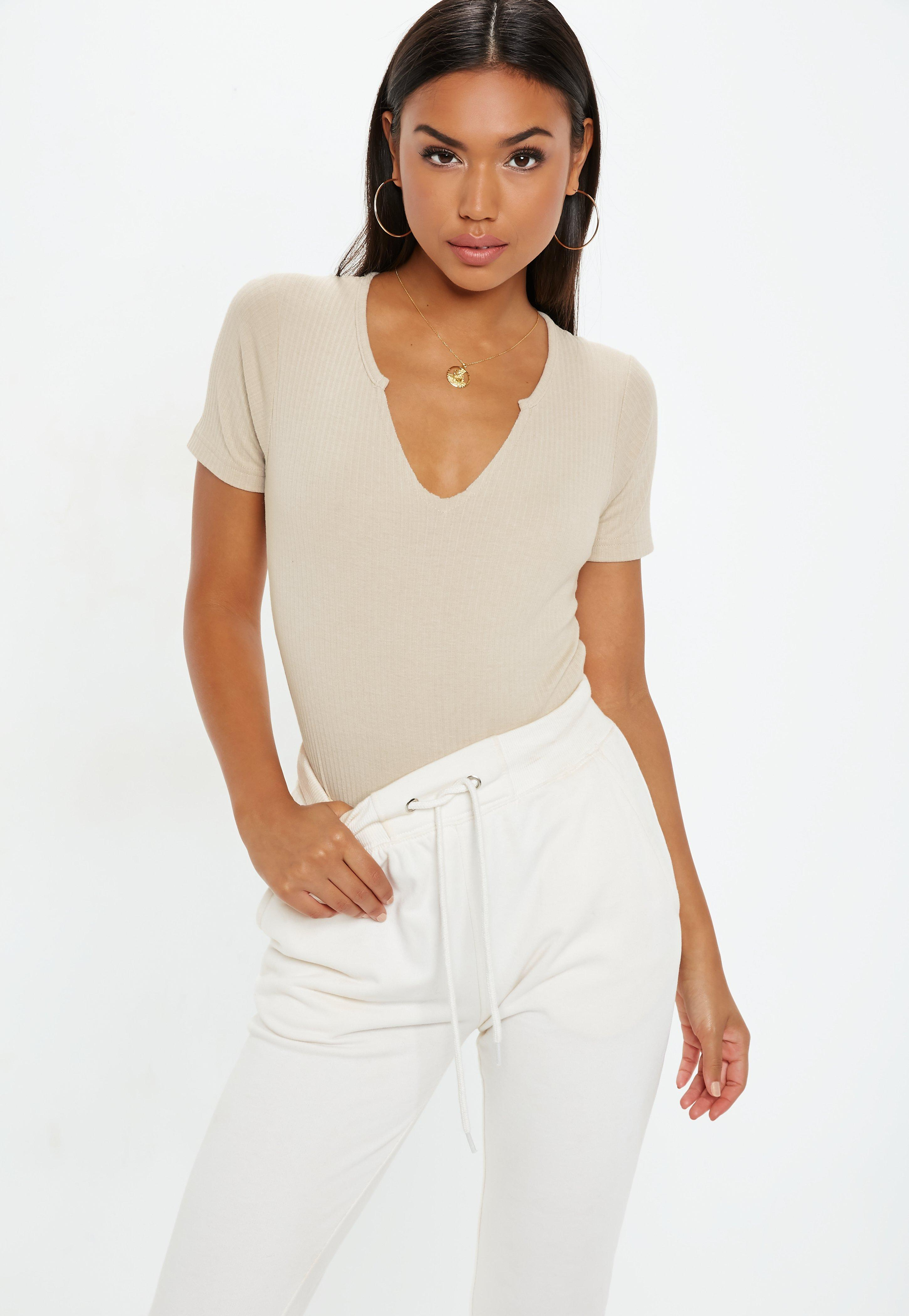 Bodysuits One Piece Missguided Korean Style Blus With Necklace Short Sleeve