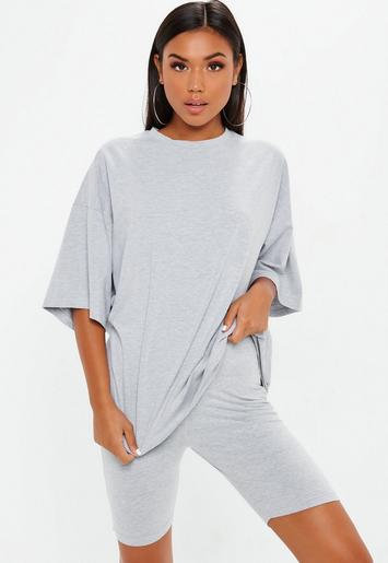 Gray Drop Shoulder Oversized T Shirt | Missguided