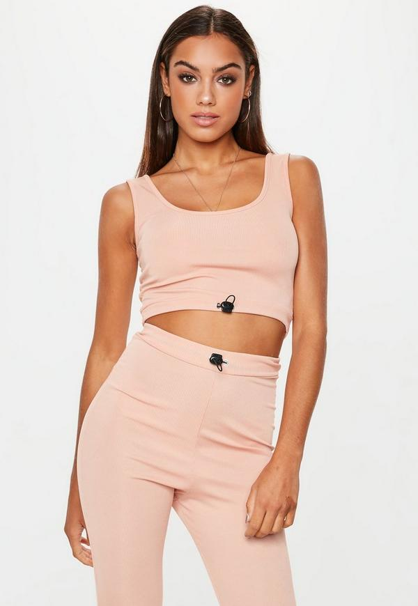 Nude Ribbed Toggle Scoop Neck Crop Top by Missguided