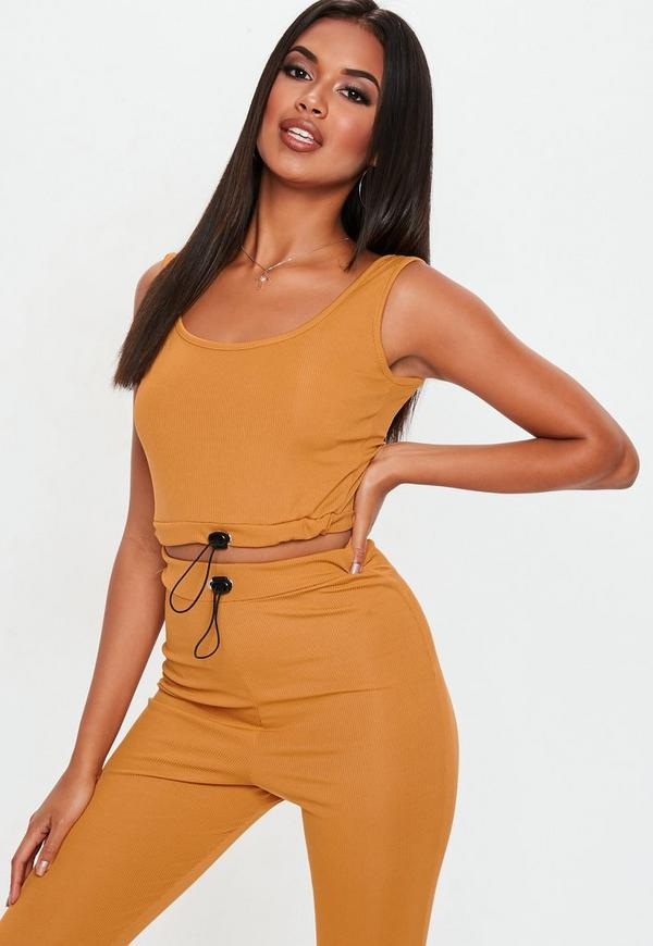 Mustard Ribbed Toggle Scoop Back Crop Top by Missguided