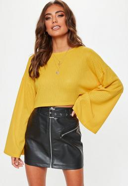 Mustard Ribbed Flare Sleeve Sweatshirt